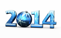 New Year 2014. And Christmas ball  on white and clipping path Royalty Free Stock Photo