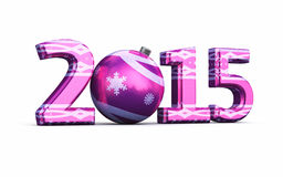 New Year 2015. And Christmas ball ( on white and clipping path Royalty Free Stock Photos