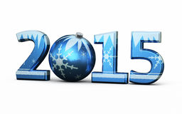 New Year 2015. And Christmas ball ( on white and clipping path Stock Image