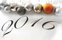 New year 2016. Christmas balls abstract background Royalty Free Stock Image