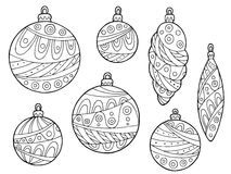New year Christmas balls black white abstract pattern illustration set. Vector vector illustration