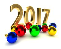 New year 2017, christmas balls Stock Image