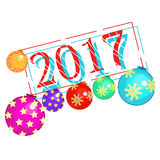 New Year with christmas balls decorations. New Year with christmas balls decorations vector illustration Stock Photography