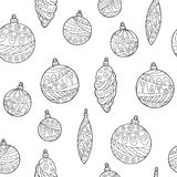 New year Christmas balls graphic seamless pattern black white illustration. Vector royalty free illustration