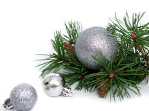 New year, Christmas balls, pine branches. New year, Christmas balls, pine isolated on white background Royalty Free Stock Image