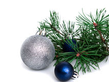 New year, Christmas balls, pine branches. New year, Christmas balls, pine isolated on white background Royalty Free Stock Photography