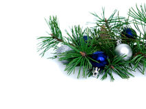 New year, Christmas balls, pine branches. New year, Christmas balls, pine  on white background Stock Images