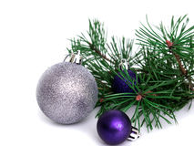 New year, Christmas balls, pine branches. New year, Christmas balls, pine  on white background Stock Image