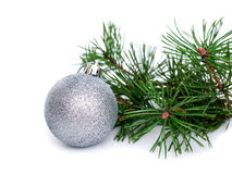 New year, Christmas balls and pine. New year, Christmas balls, pine isolated on white background Stock Image