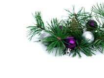 New year, Christmas balls and pine. New year, Christmas balls, pine isolated on white background Royalty Free Stock Image