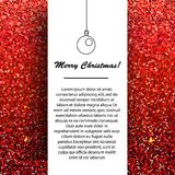 New Year and Christmas banner design template. Seasonal winter holidays greetings on red glittering background. For invitations, cards, mail and etc Stock Image