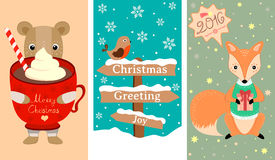 3 New Year, Christmas banner with lovely animals, bird and other decoration. Christmas greeting card template, vector Merry Christmas, Happy New Year. Holiday Royalty Free Stock Photos