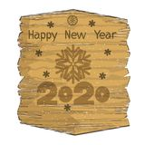 New Year or Christmas banner with a pattern of snowflakes and numbers on a wooden panel. Isolated element vector illustration