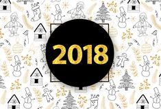 New Year and Christmas banner, poster. Gold numerals 2018. Vector illustration Stock Image
