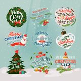 2018 new year and christmas banner or signs. Set of isolated new year banner and merry christmas eve signs with snow. Xmas holiday card badges with fir-tree Royalty Free Stock Photos