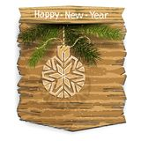 New Year or Christmas banner with Christmas-tree patterned ball and branches of spruce on a wooden panel. Isolated element on. New Year or Christmas banner with vector illustration