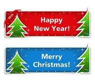New year and Christmas banners. On white background vector illustration