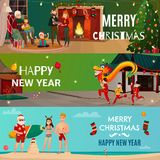 New Year And Christmas Banners. Set of horizontal banners with chinese new year, family christmas holiday, santa on beach isolated vector illustration Royalty Free Stock Images