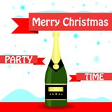 New Year and Christmas banners with snowflakes champagne and New stock illustration