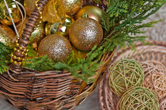 New Year, Christmas. In a basket toys for the Christmas fir-tree lie Royalty Free Stock Photography