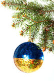 New Year. Christmas. Beautiful Round Christmas toy yellow and bl Stock Image