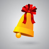 New Year and Christmas bell with red ribbon and bow Stock Image