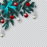 New Year Christmas. A blue branch of a Christmas tree with toys with a shadow. Corner drawing. Blue onions, silver and. Red balls on a checkered background Royalty Free Stock Photography