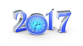 New Year 2017. Christmas. Blue figures and clock, midnight. The figure six collapses. There is figure seven. Change of year. stock footage