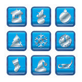 New Year Christmas blue icon set Stock Photos