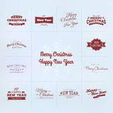 New year and Christmas calligraphy set Stock Image