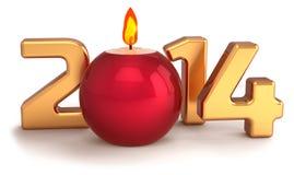New 2014 Year Christmas candle flame burning decoration Royalty Free Stock Image