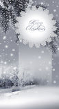 New Year, christmas card. New Year 2012 greeting card, winter landscape and branches of the fir tree Royalty Free Stock Photography