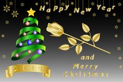 New Year and Christmas card, banner with a green ribbon in the form of a New Year, Christmas tree, a golden clock and snowflakes. New Year and Christmas card stock illustration