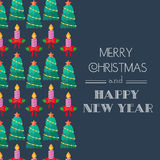 New Year and Christmas Card. Calligraphic typography. Congratulatory, invitation card. Flat design. Vector Royalty Free Stock Image