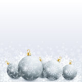 New Year and Christmas card with christmas ball and snowflake Royalty Free Stock Photo