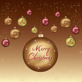 New year and Christmas card with christmas balls Royalty Free Stock Photos