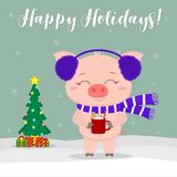 New Year and Christmas card. A cute pig wearing blue fur earphones and a scarf holding a cup of milk and ginger biscuits against a stock illustration