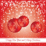 New year and Christmas card with decorations Royalty Free Stock Image