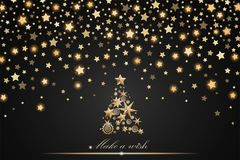 New Year and Christmas card design: gold Christmas Tree made of stars and snowflakes with abstract shining falling stars. On black ambient background. Vector Vector Illustration