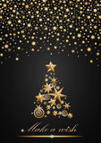 New Year and Christmas card design. Gold Christmas Tree made of stars and snowflakes with abstract shining falling stars on grey ambient background. Vector Stock Images