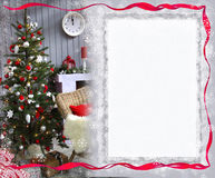 New Year,, Christmas card for greetings. New Year greetings Christmas card with Christmas tree and snowflakes Royalty Free Stock Photo