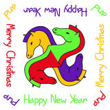 New Year and Christmas card with horse Stock Images