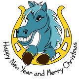 New Year and Christmas card with horse. And horseshoe Royalty Free Stock Image