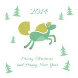New Year and Christmas card with a horse. And Christmas trees Vector Illustration