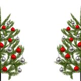 New Year, Christmas card. The image of a beautiful green spruce on both sides, decorated with red and silver balls. Vector illustration Stock Photography