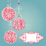 2016 New year,Christmas card ,lettering balls.Blue Royalty Free Stock Images