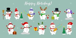 New Year and Christmas card. Set of eleven cute snowmen in different hats and poses in winter. Christmas tree, gifts, confetti, royalty free illustration