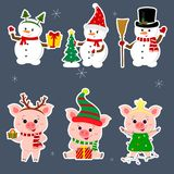 New Year and Christmas card. A set sticker of three snowmen and three pigs character in different hats and poses in. Winter. Gift box, Christmas tree. Cartoon royalty free illustration