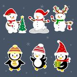 New Year and Christmas card. A set stickers of three penguins and three snowmen characters in different hats and poses vector illustration
