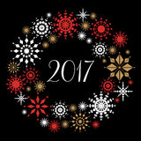 New Year and Christmas card with snowflakes wreath Stock Image